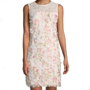 Karl Lagerfield Pink Floral Applique Sheath Dress